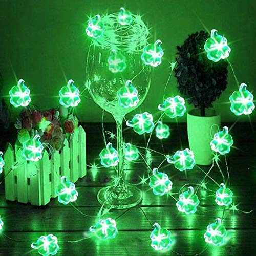 14 feet 40 Led St. Patrick's Day String Lights, Battery Operated Green Led Lucky Shamrocks Lights for St. Patrick's Day Decorations Irish Party Decor Favors Bar Home Garden Decor (Green)