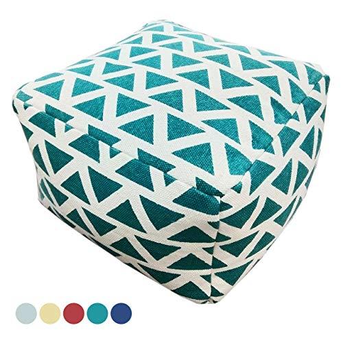 Soma Ontwerp Pouf Kelim Style vloerkussen zitpoef Maja 55x37x55 cm handbedrukt in 5 kleuren (BxHxL) 55 x 37 x 55 cm turquoise - caribic
