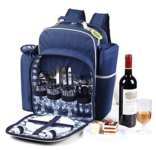 Smak | Picknick Rucksack Picknicktasche für 4 Personen | Ausstattung Campinggeschirr Besteck Teller Decke | Der Picknickrucksack bestens für  Strand Outdoor Camping geeignet | Leichtgewicht Tasche |