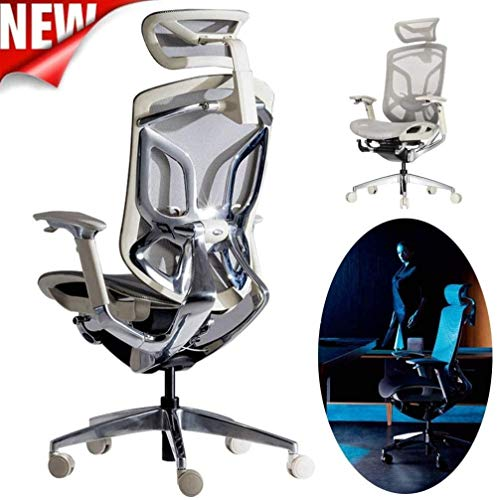 GAOLILI Sedia da Ufficio Sedia da Ufficio, Gaming Sedia, Multifunzionale Sedile Anziano, Farfalla Bionic Back, Girevole con Schienale Alto reclinabile Computer Desk Chair (Color : White)