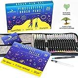 SCHNAUD Pinselstifte Brush Pen Set 20 Farben, Künstlermäppchen mit Wassertankstift, Aquarellblock...