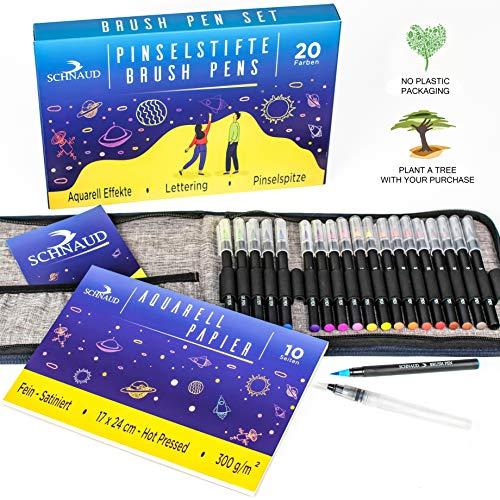 SCHNAUD Pinselstifte Brush Pen Set 20 Farben, Künstlermäppchen mit Wassertankstift, Aquarellblock mit 10 Seiten und E-Book, Handlettering Stifte für Bullet Journal, Kalligraphie und Aquarell…