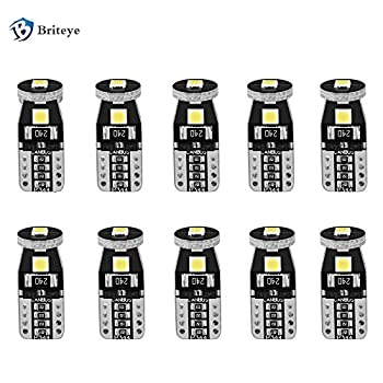 Briteye 6000K White 194 LED Light Bulb Extremely Bright 168 175 2825 192 T10/W5W LED Replacement Bulb 3030SMD Erro Free for Car Interior Door courtesy Rear Market License Plate Light Bulbs  10 PCS
