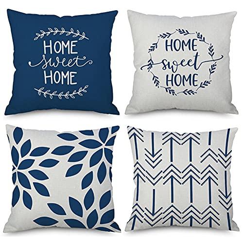 Funda de Cojín 24x24in/60x60cm Juego de 4 Funda de Cojín Funda de Almohada Impresión a doble cara Cuadrado Decorativas Funda de Cojín,para el sofá del dormitorio del hogar Decor (Flor azul) G523
