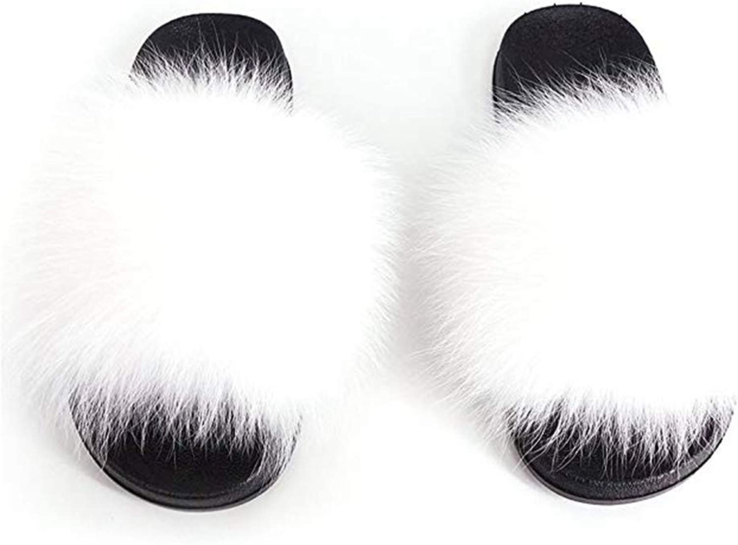 T-JULY Women Real Fur Slippers Fox Home Winter Fluffy Slides Comfort Natural Feather Furry Flats Sweet Ladies shoes