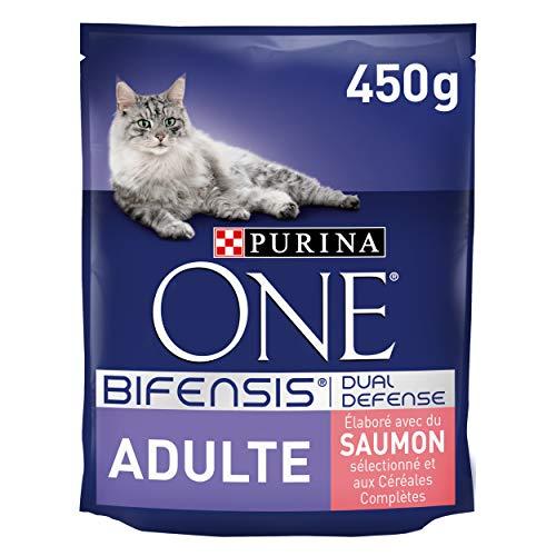 Purina One Adulte au Saumon et Céréales Complètes - 450 g - Croquettes pour Chat Adulte, 1 Unité