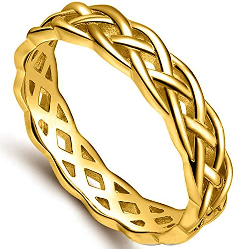 Jude Jewelers 4mm Stainless Steel Celtic Knot Eternity Wedding Engagement Band Ring (Gold, 8)
