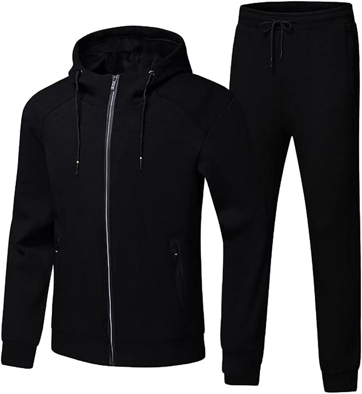 Papijam Mens Warm Zip-Up Sports Hoodies Slim Sweatpant Tracksuits Set