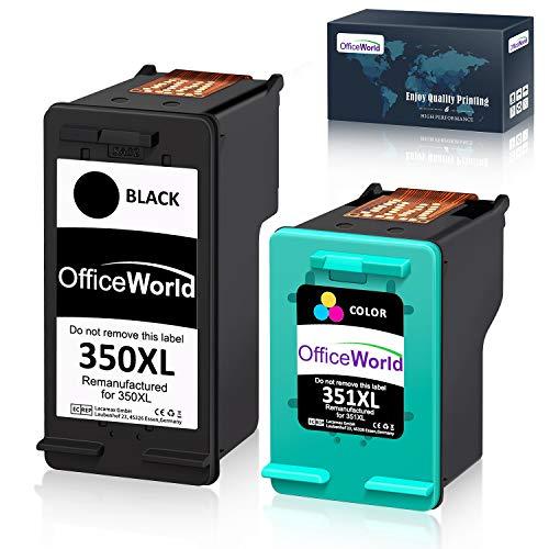 OfficeWorld Remanufactured HP 350 351 Cartucce d'inchiostro 350XL 351XL Compatibile per HP Photosmart C4480 C4280 C5280 C4580 C5200 C4270, HP Officejet J5780, HP Deskjet D4260 (1 Nero, 1 Colore)