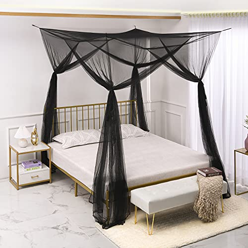 NJN 4 Corner Post Bed Canopy Curtains, Mosquito Net for Full/Queen/King Size Bed