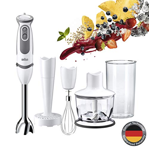 Braun MultiQuick 5 Vario MQ 5037 Stabmixer, 750 W, Kartoffel- und Gemüsestampfer, Edelstahl-Schneebesen, EasyClick System, PowerBell Technologie