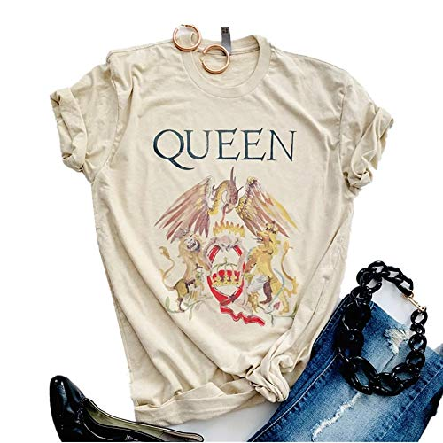 SurBepo Womens Vintage Queen Shirt Summer Cute Short Sleeve Casual Graphic Tees(XL, Ayellow)