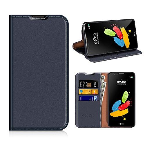 MOBESV LG Stylus 2 Hülle Leder, LG Stylus 2 Tasche Lederhülle/Wallet Hülle/Ledertasche Handyhülle/Schutzhülle mit Kartenfach für LG Stylus 2 - Dunkel Blau