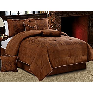 Grand Linen 7 Piece Dark Brown Embossed Faux Suede Paisley comforter set Oversize (106 X 94 ) California King Size Bedding