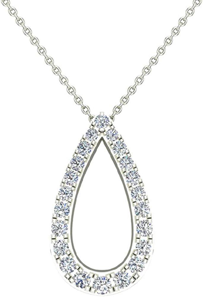 0.34 ct Teardrop Shape Diamond Pendant 14K Gold (G,SI) Extra-Ordinary Quality