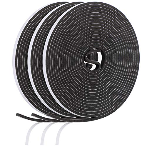 15 m Foam Weather Strips Tape Seal Strips Door Window Draught Excluder EVA Tape Self Adhesive Weatherstrips for Gap Seal Sound Wind Noise Proof (Black)