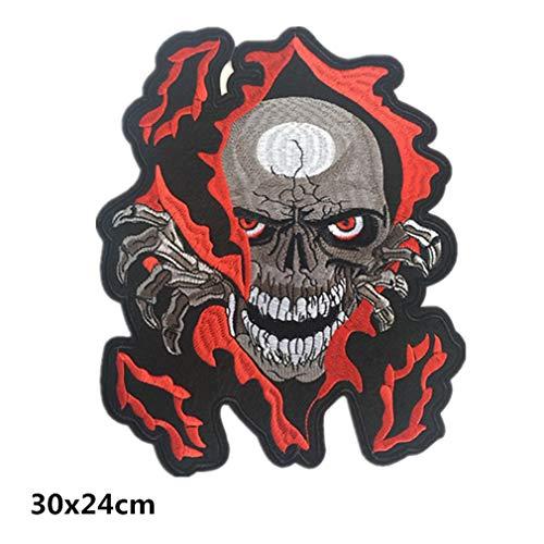 Bella Parches Apliques Sticker Parche Termoadhesivo Skull Bordado Motocicleta Rider Biker Halle Moto Punk Patch para Chaleco Chaqueta Tamaño Grande