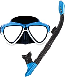 XY Swimming Goggles - Full Dry Snorkel Goggles Set Water Sports Glasses (Color : White)