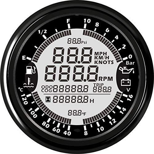 ELING Multi-Functional GPS Speedometer Tachometer Hour Water Temp Fuel Level Oil Pressure Voltmeter 12V 10Bar 85mm with Backlight