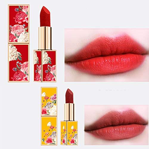 Pintalabios de 5 piezas de estilo chino Lápiz labial, lápiz de cejas de maquillaje, cojín de sombra de ojos, regalo perfecto para los amantes, hermosos labios rojos de la cultura china