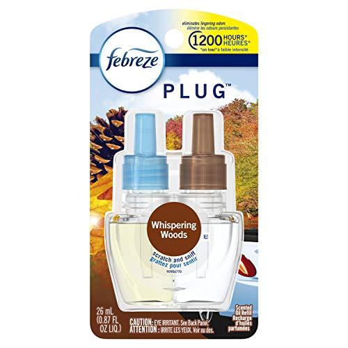 Febreze Odor-Eliminating Plug Air Freshener Refill, Whispering Woods, 1 Count