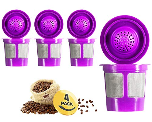 Reusable Filter Cups Compatible with Keurig K-Cups for Keurig 1.0 & 2.0 Machines (4-Pack) - Fits Most Keurig K-Cup Brewers (Purple)