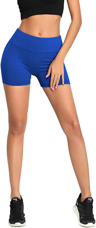 TOLENY Women's High Waist Active Shorts Quick Dry Leggings Running Workout Yoga Short Pants