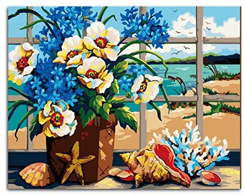 DIY olieverfschilderij door cijfers Kits Thema Digitale Schilderen Wit-Paars Bloemen in Bloempot Canvas Gift voor Volwassenen Kinderen Verjaardag Bruiloft Nieuwe Accommodatie of Kerst Decoraties