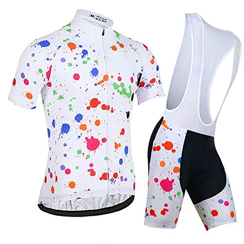 LSZ Conjunto De Maillot De Ciclismo para Hombre, Transpirable, De Secado Rápido, con Cremallera Completa, Camiseta De Ciclismo MTB con Pantalones Cortos Acolchados con Cojín 9D