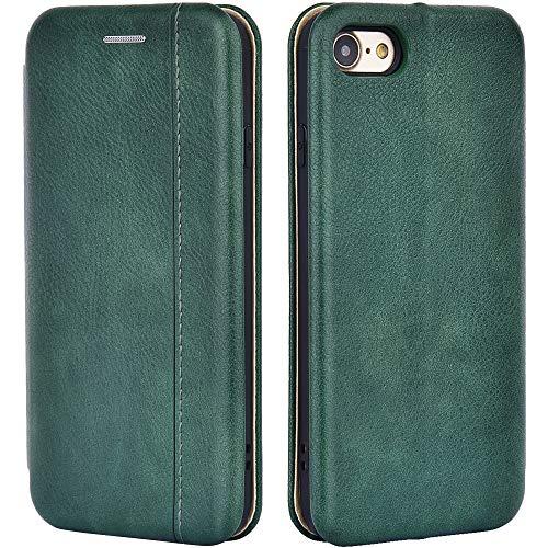 Leaum Leder Handyhülle Kompatibel mit Apple iPhone SE 2020 Hülle, iPhone 8 Tasche, iPhone 7 Hülle, Premium Klapphülle Handytasche Stoßfest Schutzhülle (Grün)