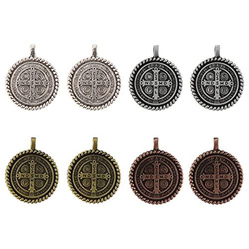 NUOBESTY 8 Piezas de Colgante de Cruz de Crucifijo Catholico Antiguo Medallón de San Benito Cruz Religiosa Abalorio para DIY Joyería Suministros
