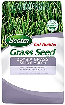 Scotts Turf Builder Grass Seed Zoysia Grass Seed and Mulch 5 lb - Full Sun and Light Shade - Thrives in Heat & Drought - Grows a Tough Durable Low-Maintenance Lawn - Seeds up to 2,000 sq ft.