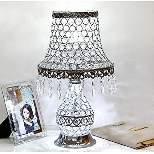 XINYE Cristal Lampe de table Double Commutateur Contrôle Lampe de chevet LED Veilleuse avec Métal Base, Red