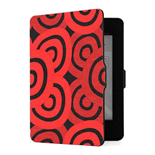 Funda para Kindle Paperwhite 1 2 3, Funda de Piel sintética Negra roja con Smart Auto Wake Sleep para Amazon Kindle Paperwhite (se Adapta a Las Versiones 2012, 2013, 2015)