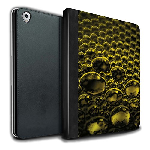 Stuff4 PU Lederen Boek/Cover Case voor Apple iPad Pro 9.7 tablets/Geel Design/Bubbles/Droplets Collectie