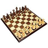 Ajedrez de viaje Ajedrez con incrustaciones de madera Juego de mesa Juego con ponderado de Madera Piezas de ajedrez Juego de mesa con triple Peso Piezas Juego de ajedrez ( tamaño : 44*44*1.8cm )