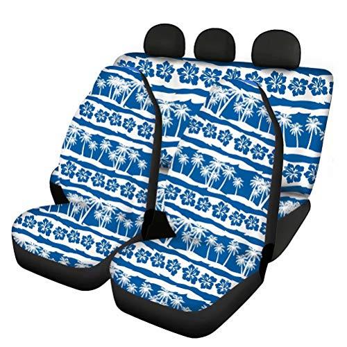 chaqlin Juego completo de 4 fundas de asiento de coche, diseño de palmera hawaiana, ideal para todo tipo de clima, para mascotas, ajuste universal