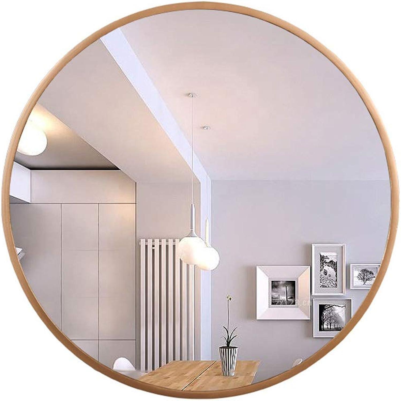 GSHWJS Makeup Mirror Bathroom Mirror Hanging Mirror Round Wall Hanging Titanium gold Wood Frame Vanity Mirror Wall Mirror (Size   50CM)