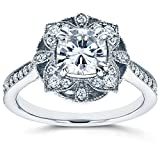 Kobelli Antique Floral Cushion-cut Moissanite Engagement Ring 1 1/3 CTW 14k White Gold, Size 11