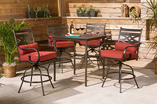 Hanover Montclair Juego de 5 Piezas de Patio de Alto Comedor con 4 sillas giratorias y un 33 Pulgadas Mesa de Comedor con Altura Regulable, Rojo