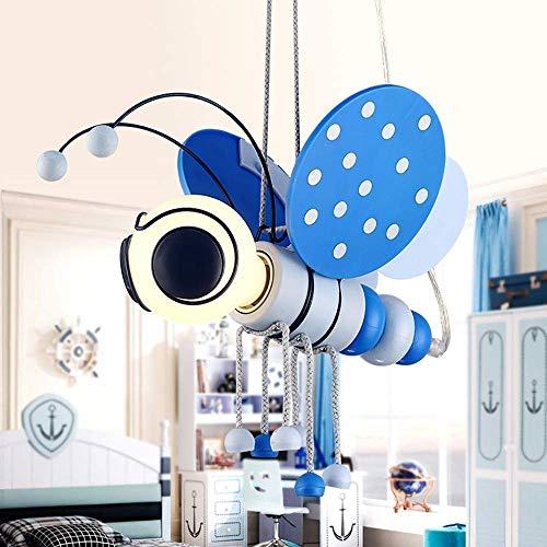 Moderne cartoon insecten LED kroonluchter, kleine jongens, kinder- en meisjeskamer, hanglamp, verlichting, E27, creatief, kleine bijen decoratief, licht, blauw