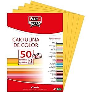 Fixo Paper 11120360 – Pack de cartulinas A3 – 50 unidades color amarillo, 180g