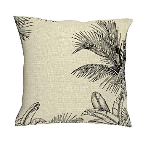 O2ECH-8 Set van 4 linnen sierkussens Case New Living Style Kussenhoes Plant Tropische Plant Style gedrukt Sofakussen Cover voor gordijn Decor - Plant