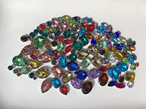 130 piezas de piedras preciosas de cristal DIY brillante diamante para coser materiales de bricolaje diferentes colores, diferentes tamaños de vidrio diamante DIY material de costura paquete