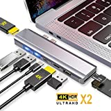 EKSA Dual Hdmi USB C Hub Multiport Adapter for MacBook Pro & Air,8-in-1 Type C Hub Docking Station Triple Display with 2 HDMI 4K, PD 100W Charging, 2 USB 3.0, USB 2.0, SD/TF Card Reader