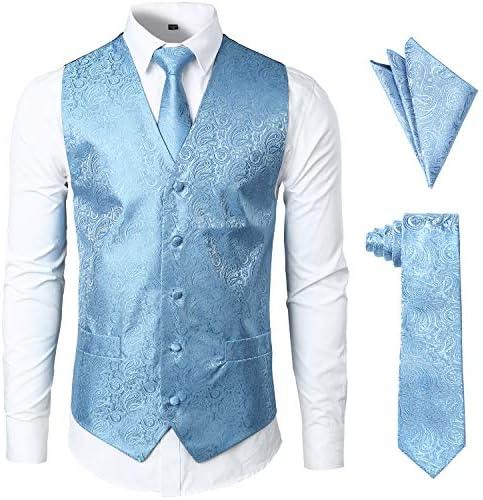 JOGAL Men s 3pc Paisley Vest Necktie Pocket Square Set for Suit or Tuxedo Sky Blue Large product image