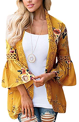 ECOWISH Womens Kimono Cardigan Floral Print Sheer Capes Loose Cardigans Cover Up Blouse Tops Yellow Medium