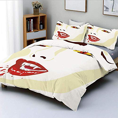 Duvet Cover Set,Vamp Face Vivid Design Bloodthirst Expression Scary Sexy Undead Monster Demonic Decorative 3 Piece Bedding Set with 2 Pillow Sham,Multicolor,Best Gift For Kids &