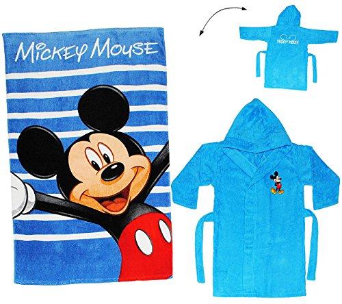 alles-meine.de GmbH 2 TLG. Set _ Badetuch & Frottee Bademantel -  Disney Mickey Mouse  - 5 bis 8 Jahre / Gr. 116 - 140 - 100 % Baumwolle - mit Kapuze - für Kinder / Mädchen & J..