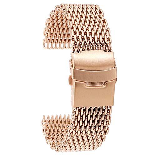 HUMINGG Correa Reloj Correa de Malla de Acero Inoxidable 18/20 / 22 / 24mm Bandas de Reloj de Cierre Plegable Correas de Reloj de Oro Rosa